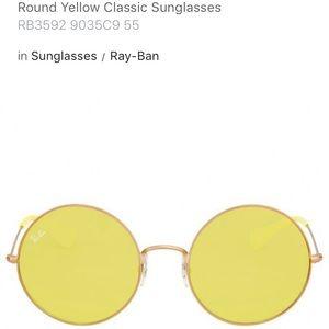 Yellow oversized round Ray Bans